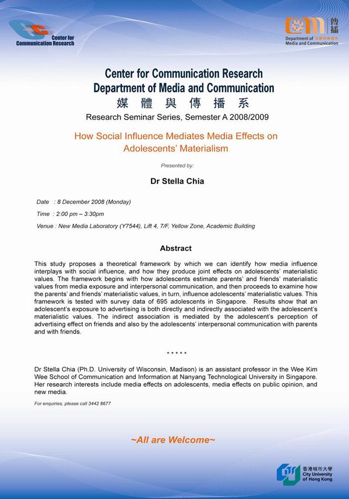 the influence of the media over materialism Media influence and social influence on adolescents' views regarding material hypothesized model for the influence of presumed influence on adolescent materialism.
