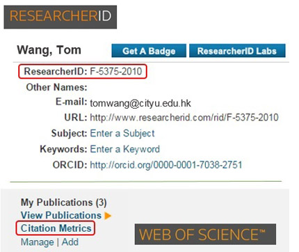 An example of ReseacherID profile