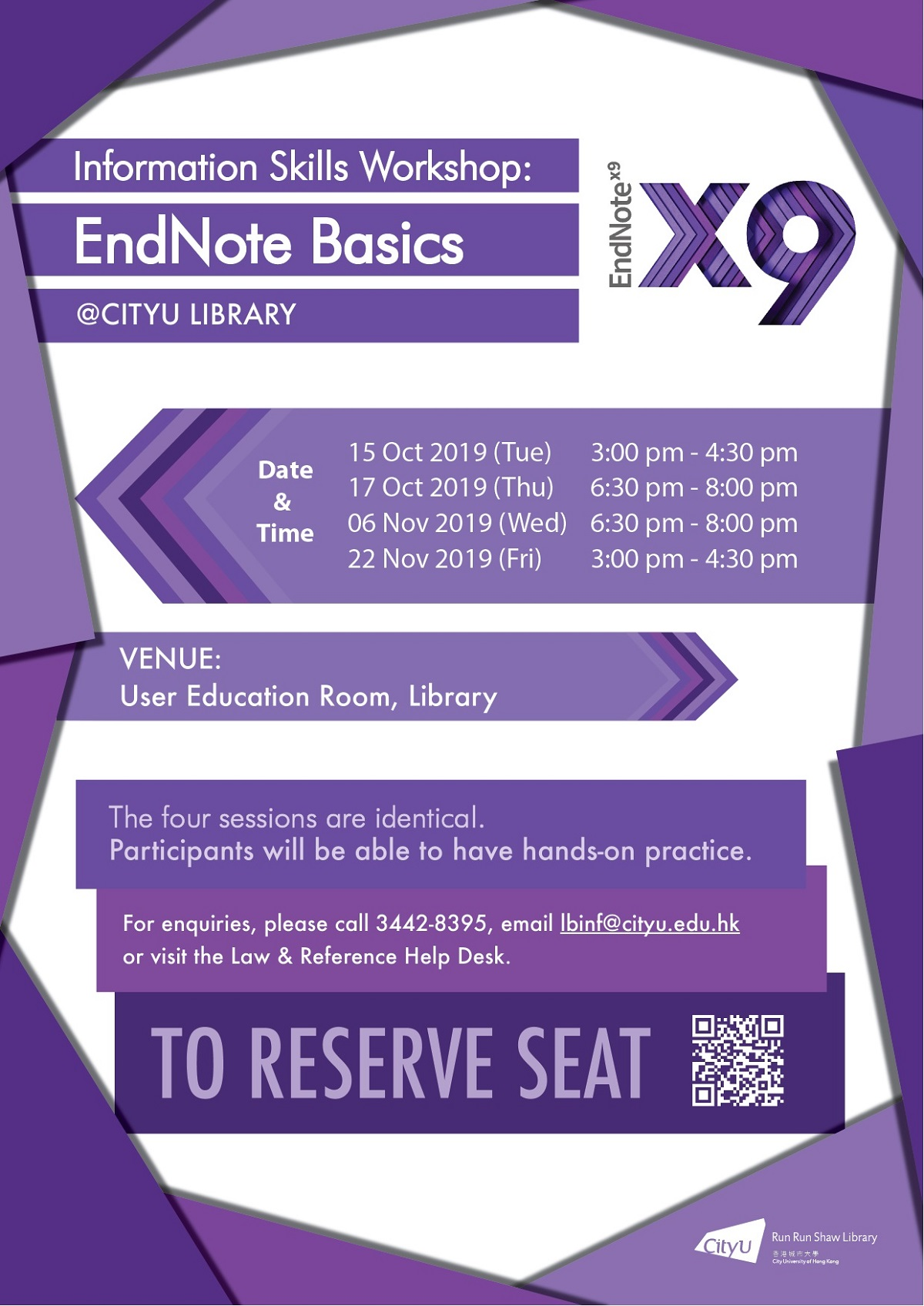 Information Skills Workshop: EndNote Basics @CityU Library;