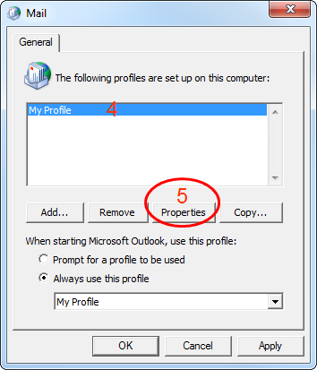 how to create a profile with different services windows 7