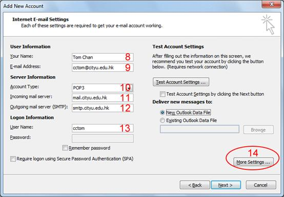 How to configure outlook to access my pop mailbox - Office 365 server settings for outlook 2010 ...