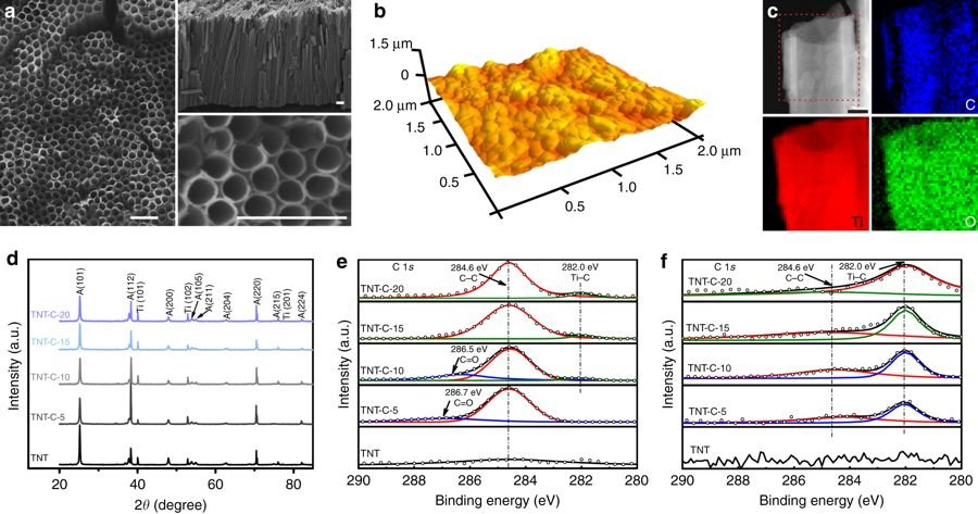 TiO2 nanotubes after direct or alternating current charging
