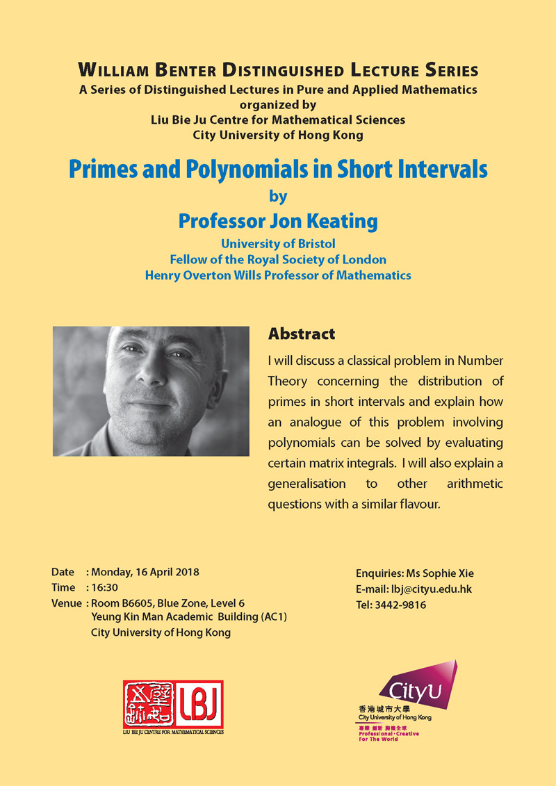 16 April 2018 - William Benter Distinguished Lecture by Prof Jon Keating