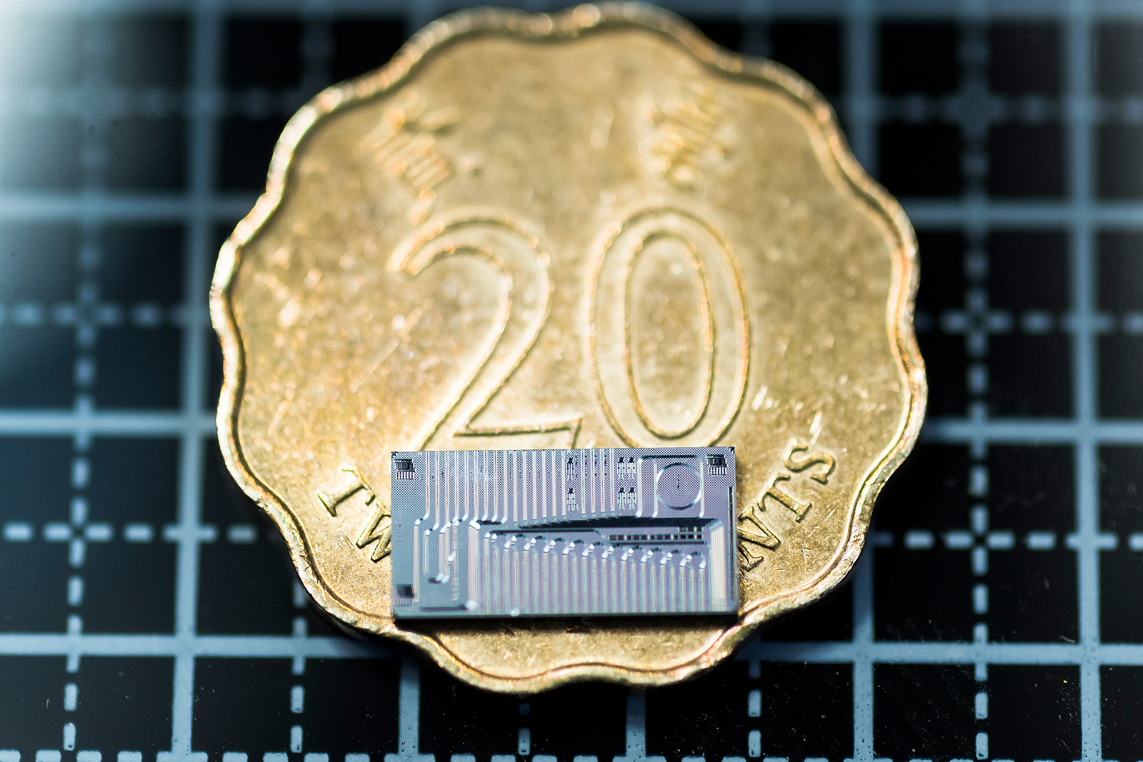 The micro-ring resonator chip used in the research.