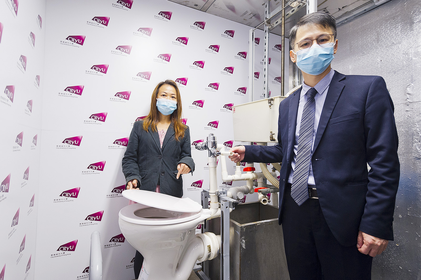 According to the findings of Professor Lai's (right) research team, aerosol droplets can rise higher if a valve type flushing system is used. Dr Li reminds the public to clean washroom facilities regularly.