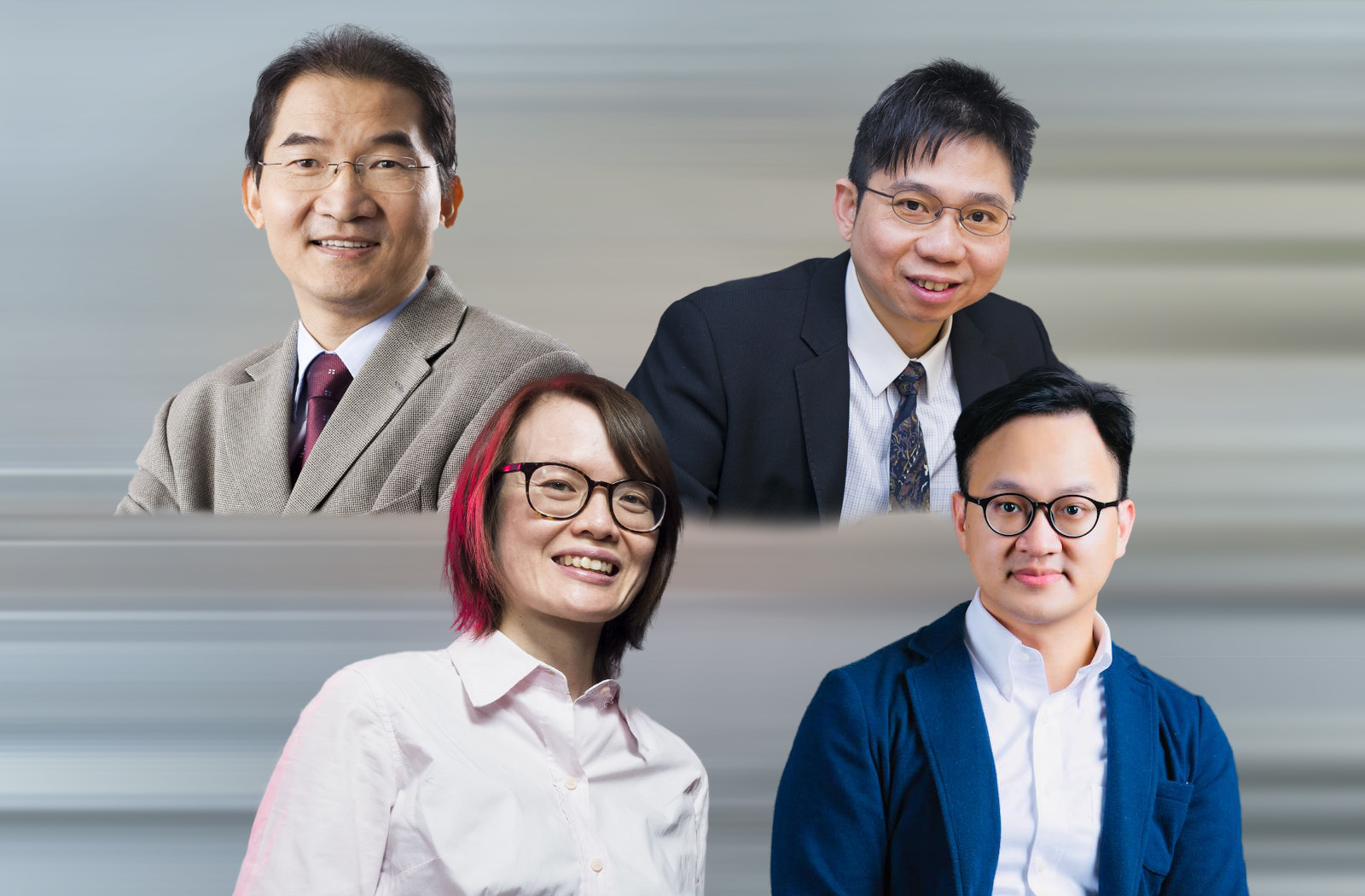 (From top left, clockwise) Professor Michael Yang Mengsu, Professor Leung Kwok-wa, Dr Steven Wang, Dr Katie Chan Kei-hang.