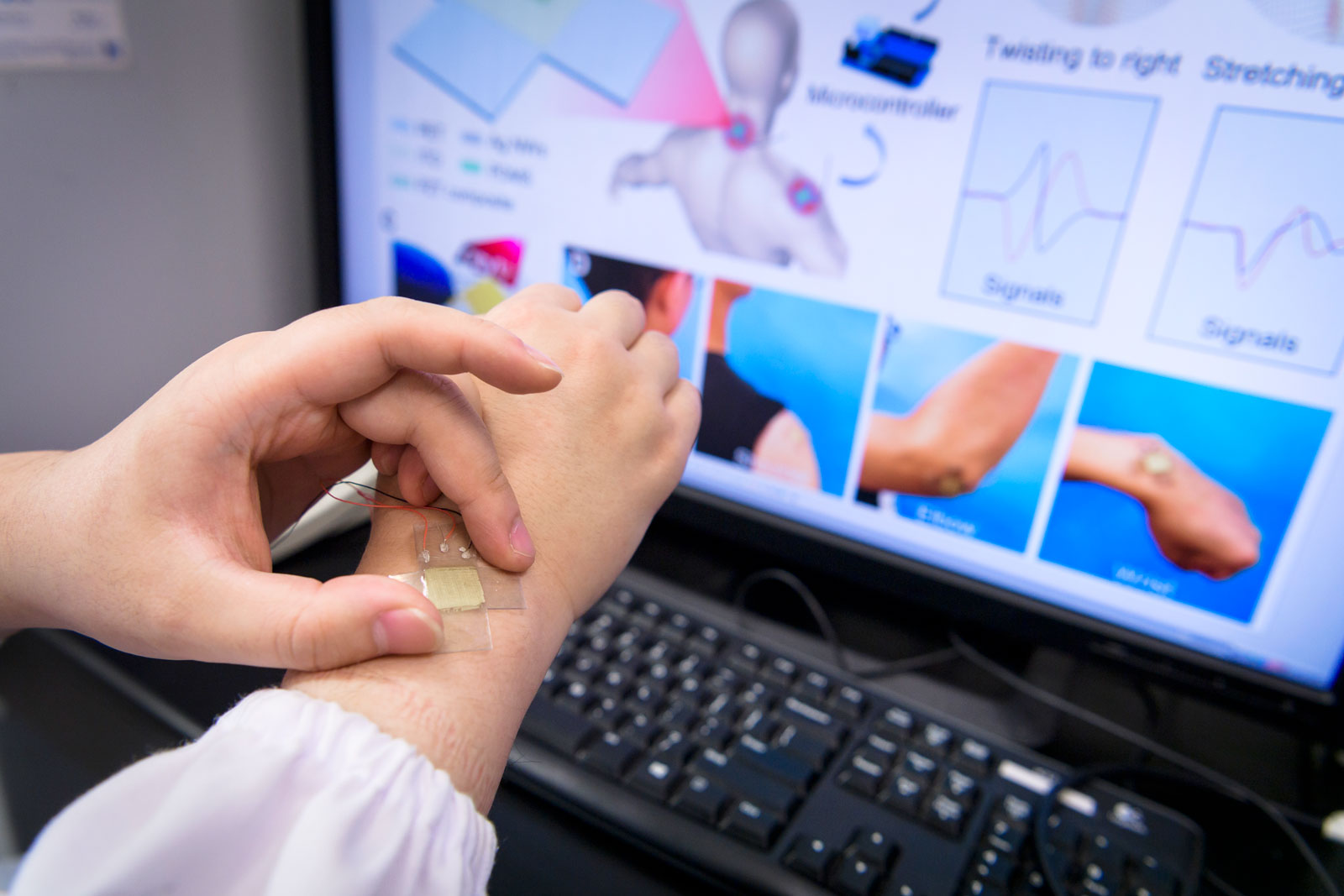 The kirigami-structured sensor can fully monitor joint movements when attached to the human body.
