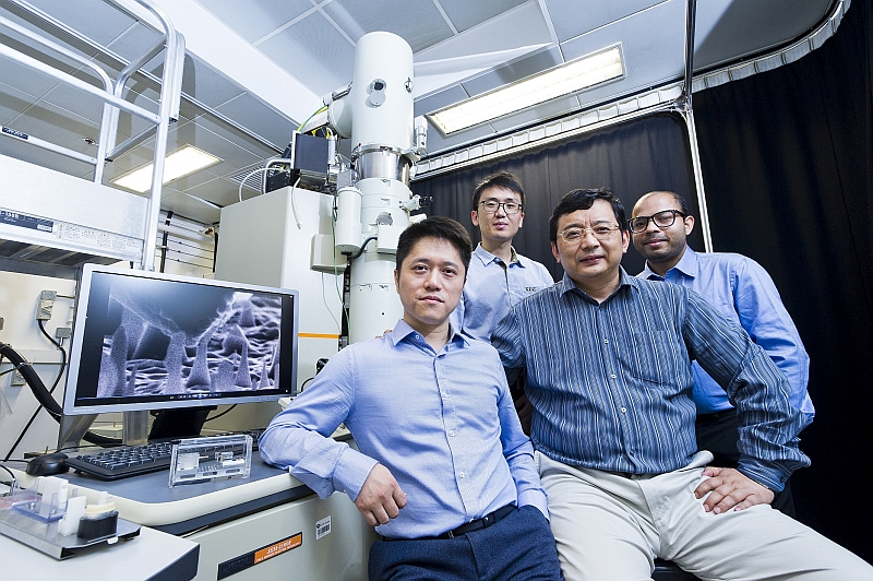 The CityU team has discovered that nanoscale diamond can experience a significant amount of elastic deformation. (From left: Dr Lu Yang, Zhang Hongti, Professor Zhang Wenjun and Amit Banerjee)