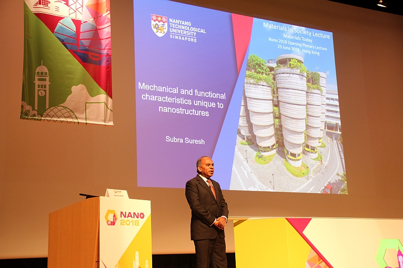 Professor Subra Suresh, President of Nanyang Technological University, Singapore, delivers a speech at the first plenary session.