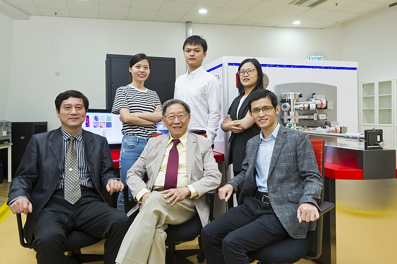 From left to right, front row: Professor Kai Jijung, Professor Liu Chain Tsuan, Dr. Jiao Zengbao; back row: Zhao Yilu, Yang Tao and Dr Luan Junhua, Senior Research Associate at Inter-University 3D Atom Probe Tomography Unit at CityU.