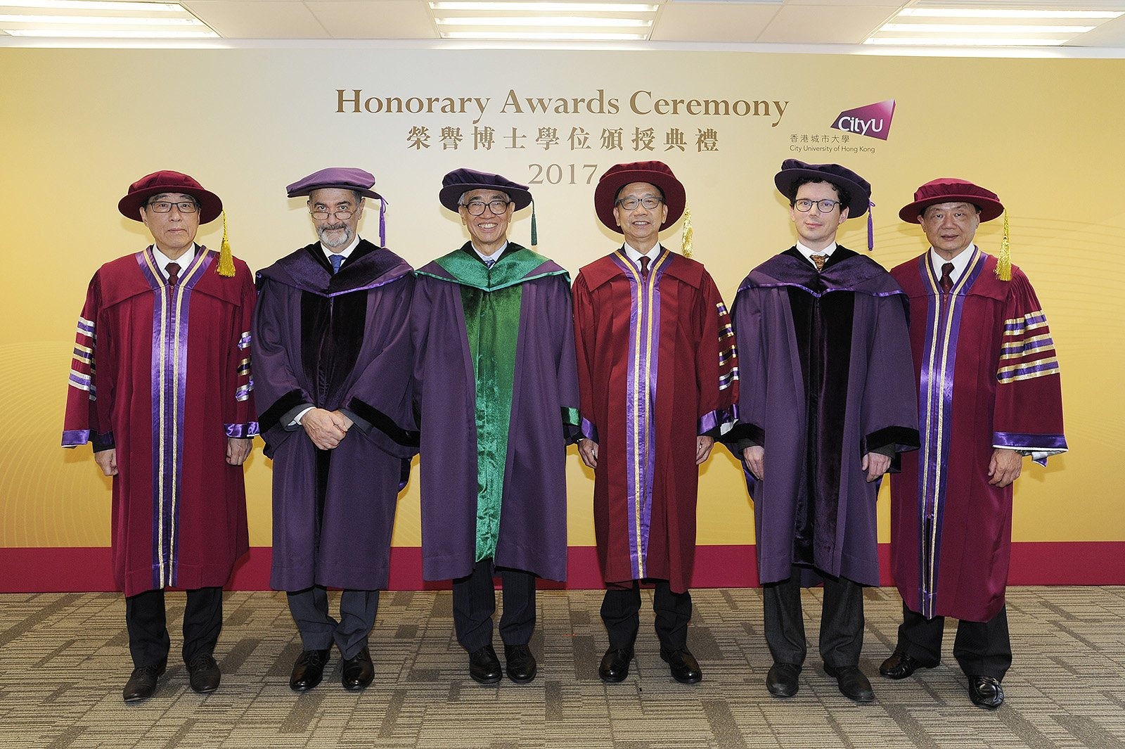 (From left) Professor Way Kuo, Professor Serge Haroche, Dr Joseph Lee, Dr Chung Shui-ming, Professor Wendelin Werner and Mr Herman Hu Shao-ming.