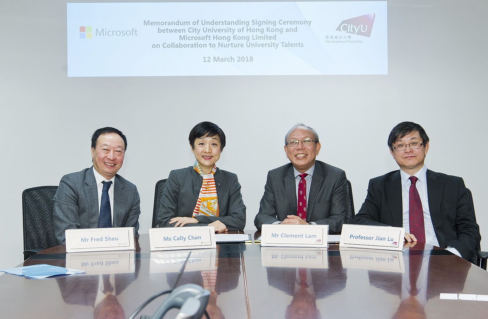 (From left) Mr Sheu, Ms Chan, Mr Lam and Professor Lu.