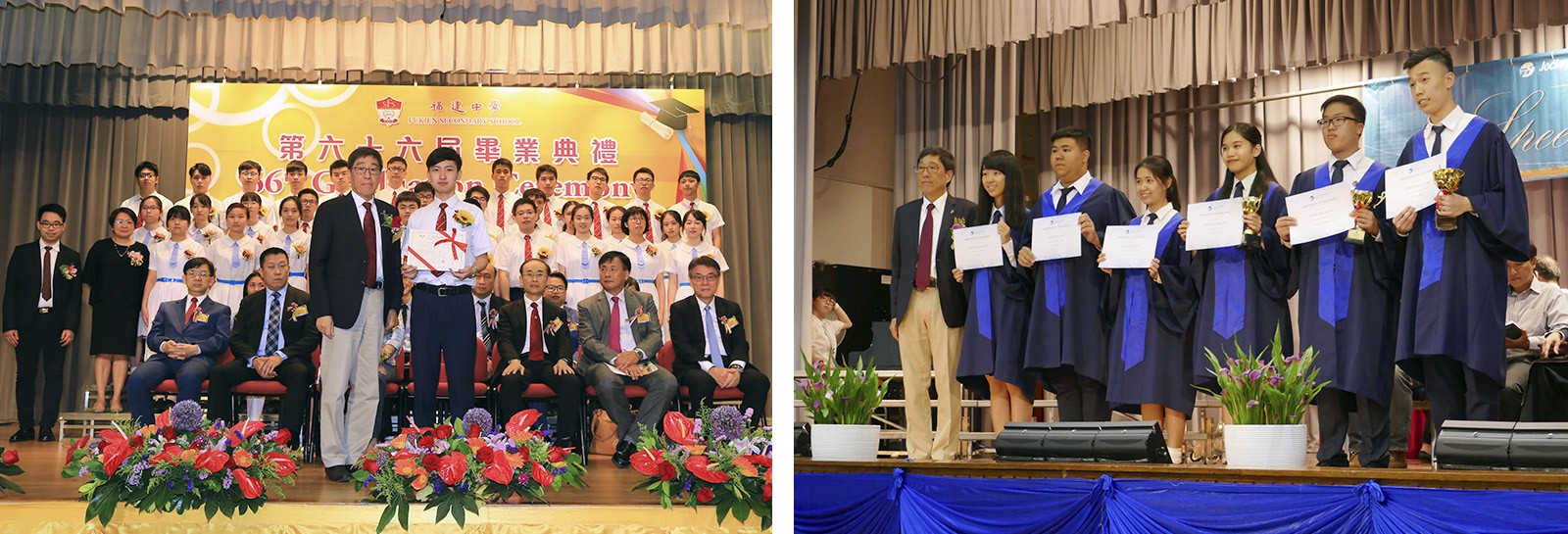 Professor Kuo presents certificates to graduates.