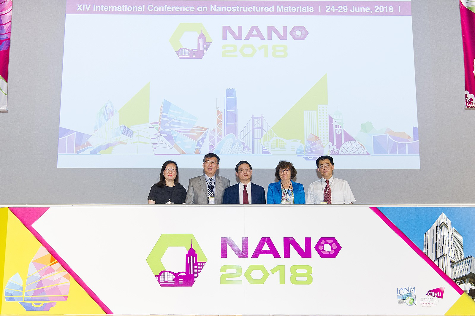 (From left) Professor Lu Kei and Professor Lu Ke, Co-chair of NANO 2018; Professor Lu Jian, Chair of NANO 2018; Dr Elisabetta Agostinelli, Chairman of International Committee on Nanostructured Materials; and Professor Nie Jianfeng, Chair of the next NANO, officiate the Conference.