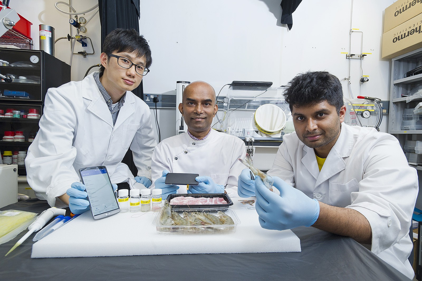 Dr Vellaisamy (centre) and his team.