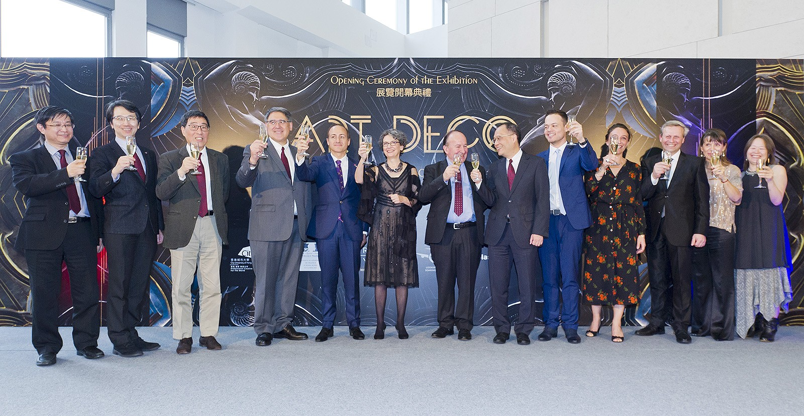 (Starting from third from left) President Kuo, Mr Huang, Mr Giorgini, Dr Frank, Mr Bréon and guests toast at the opening ceremony.