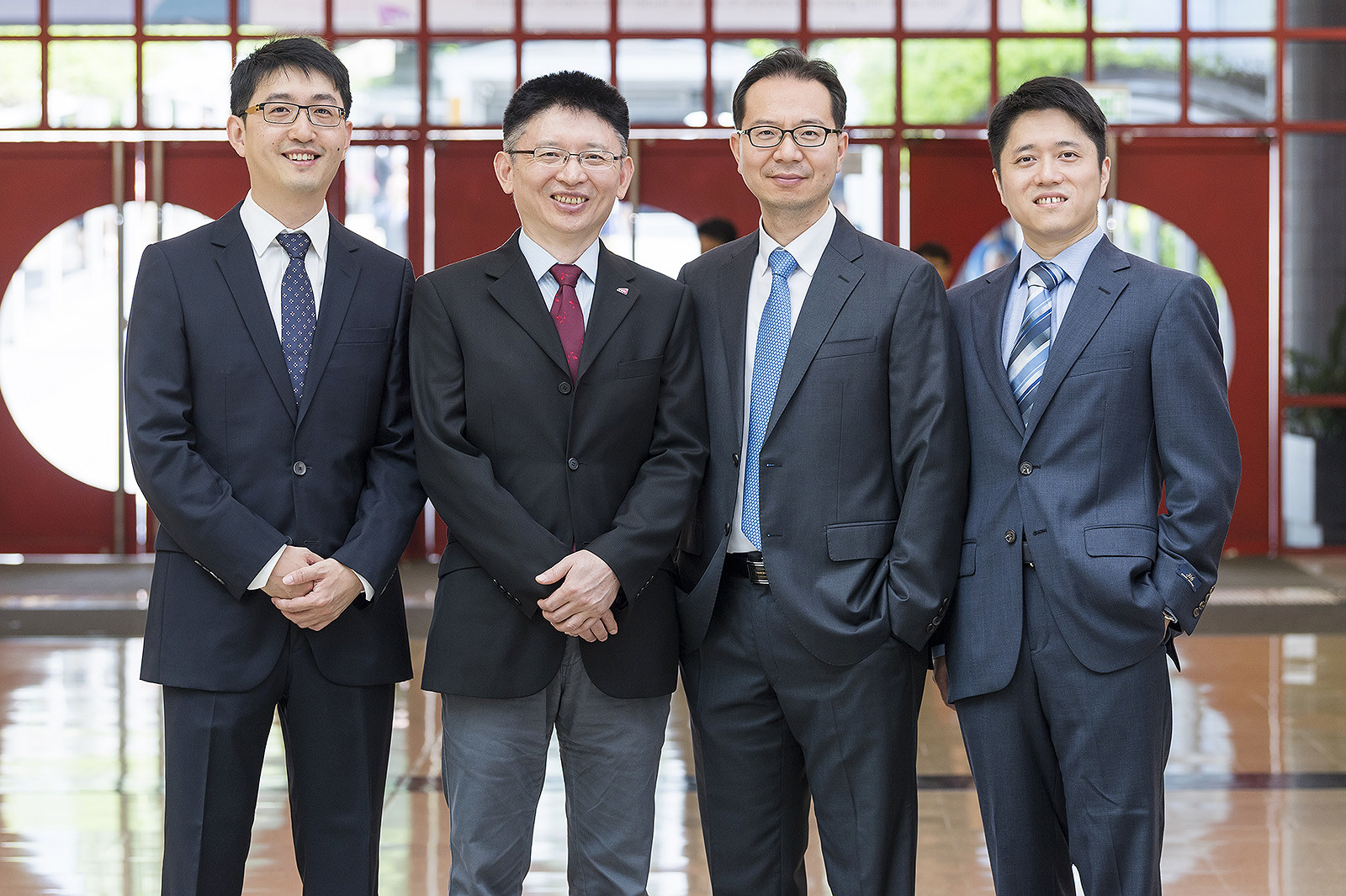 Professor Feng and Professor Kim (2nd and 3rd from left) have been awarded Outstanding Research Awards while Dr Lu (far right) and Dr Wang (far left) have been awarded Outstanding Research Awards for Junior Faculty.